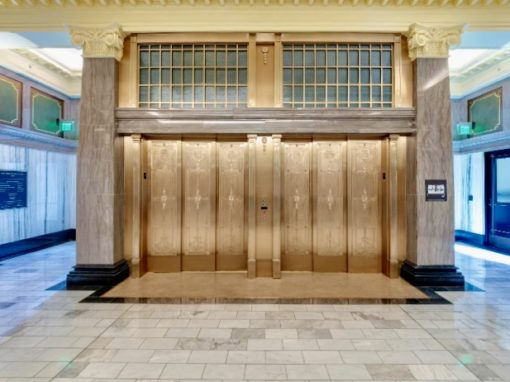 UNT Law School, Bronze Elevator Doors & Surrounds - Dallas, TX • Turner Construction / Architexas • Artist: Austin Weishel